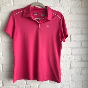 Under Armour pink button down polo large